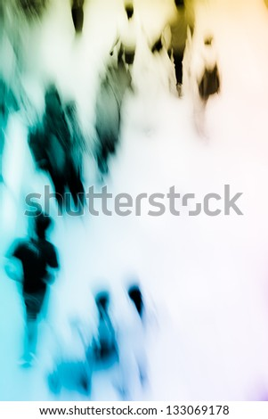 people shopping in central marketplace, high angle view, blurred motion