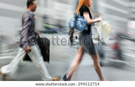 people shopping in the city in motion blur #294512714