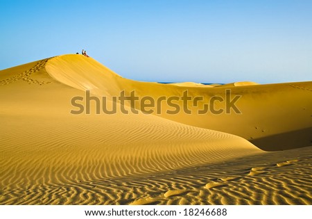 People sitting on a mountain of sand in the desert in Gran Canaria