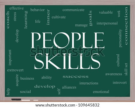 People Skills Word Cloud Concept on a Blackboard with great terms such as emotional, interpersonal, awareness, business, social, develop and more