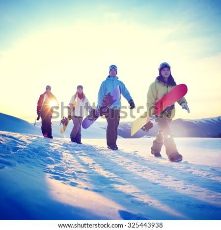 People Snowboard Winter Sport Friendship Concept #325443938