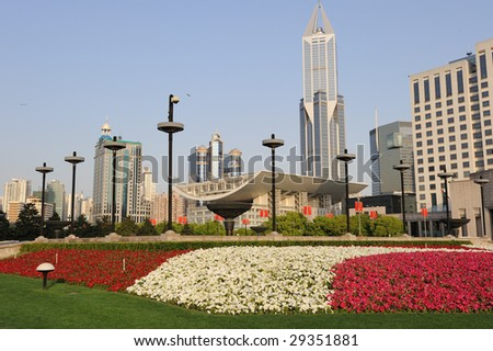 People Square, most famous place in Shanghai. Early in the morning.