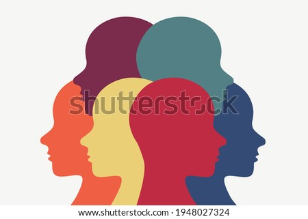 People standing in a group but looking in different directions. Religious diversity illustration. Racial diversity icon. ストックフォト ©