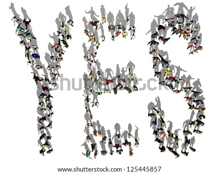 people standing in a Yes configuration seen from above