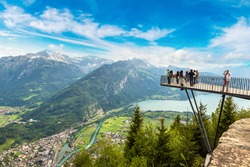 People standing on the observation deck in Interlaken in a beautiful summer day, Switzerland