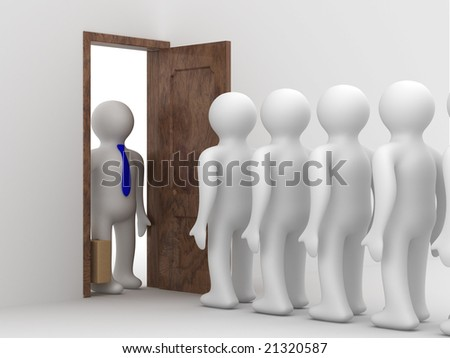 People standing one after another before the open door - stock photo