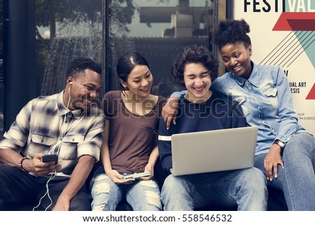 People Students Friendship Togetherness Technology stock photo