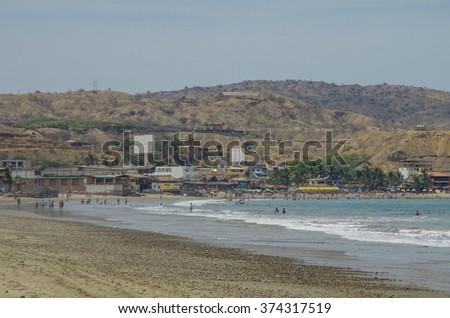 People swiming in Pacific ocean in Mancora surfer's beach in Peru. #374317519