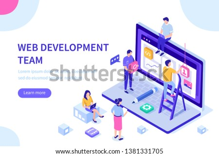 People team work together in web industry. Can use for web banner, infographics, hero images.  Flat isometric illustration isolated on white background. #1381331705
