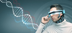 people, technology, future and progress - man with futuristic 3d glasses and microchip implant or sensors over gray background and dna molecules