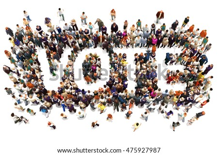 People that vote. Large group of people walking to and forming the shape of the word text vote on a white background. 3d rendering