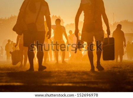 People traveling in the sunset at noon #152696978