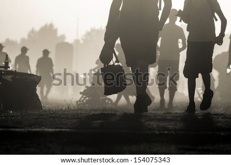 People traveling in the sunset at noon #154075343
