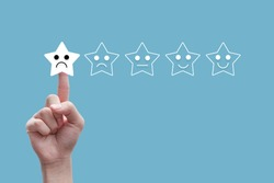 people using hand click one star rating,concept negative reviews in customer and relations service