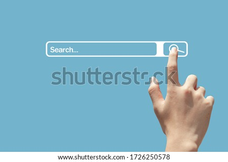 people using hand click searching browsing internet page on computer touch screen. Data Information Networking Concept,with copy space.