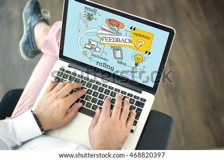 People using laptop and FEEDBACK concept on screen #468820397