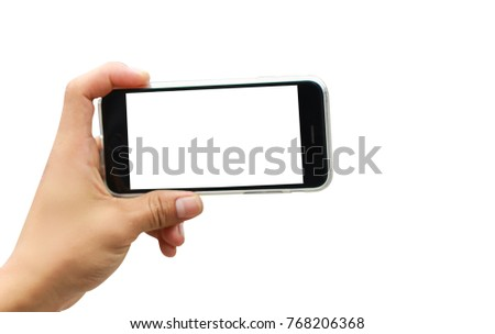 People using smart phone take a photo. Left hand holding empty phone screen on white background. #768206368