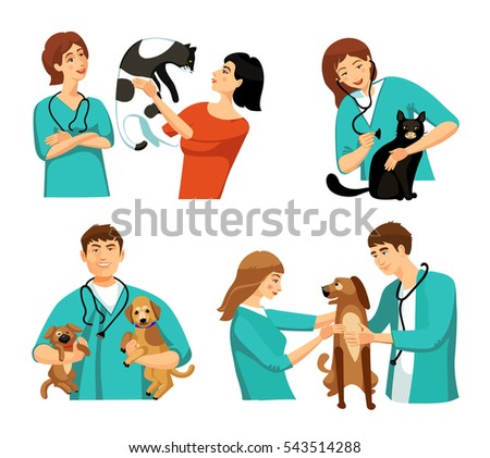 People veterinary set with veterinary doctor nurse clients dogs and cats flat isolated  illustration