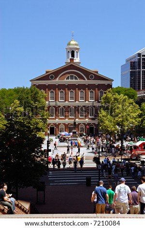 People visiting Faneuil Hall during weekend
