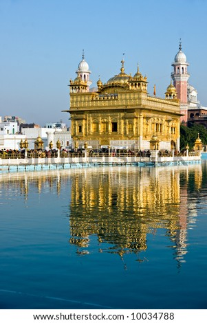 People visiting The Golden Temple, Amritsar, India.