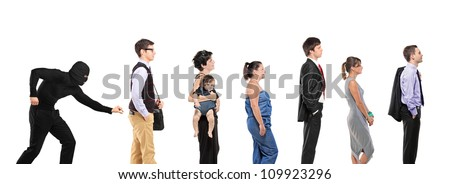 People waiting in a que and a pickpocket trying to steal a wallet isolated on white background - stock photo