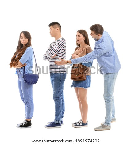 People waiting in line on white background Сток-фото ©