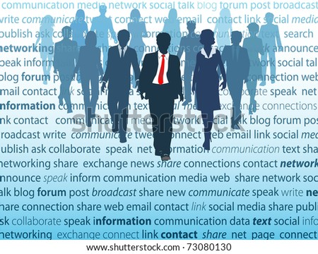 People walk from a page where they actively use social media network concepts in business