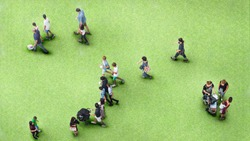 people walk on the greenfield grass landscape with the teenage young man and the group of family with little child. (Aerial urban city photo)