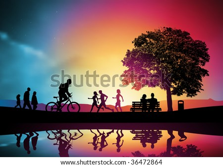 People walking and jogging, a family watching the sunset. Vector illustration