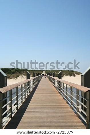 people walking by the bridge