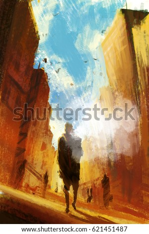 people walking down the street smoking a e-cigarette,illustration painting