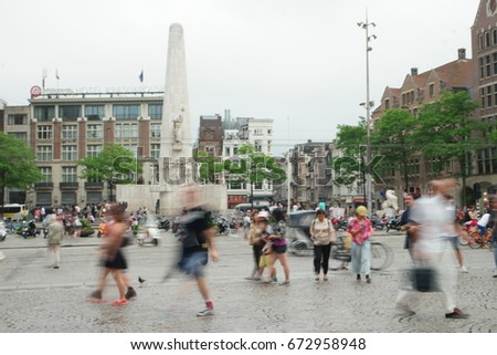 People walking, generic  with an intentional blur out of focus blur Amsterdam Netherlands