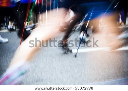 People walking on nordic walking race, motion blur.
