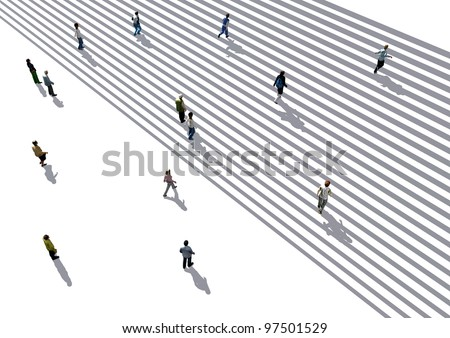 people walking on stairs