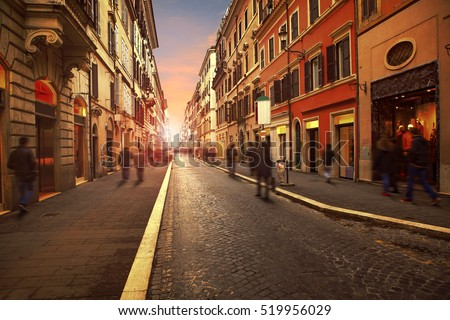stock photo people walking on wall street with european building style in rome italy use as background and 519956029 - Каталог — Фотообои «Улицы, переулки»