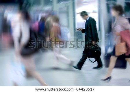 People Walking to Work. Office Workers, Motion Blur.