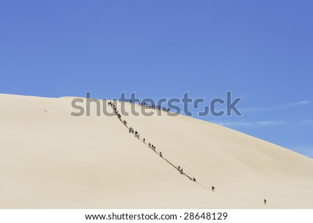 People walking up a huge sand dune to go sandsurfing at Cape Reinga in New Zealand