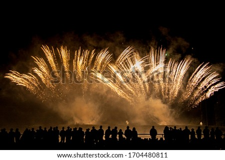 people watch fireworks to celebrate national holiday Stock photo ©