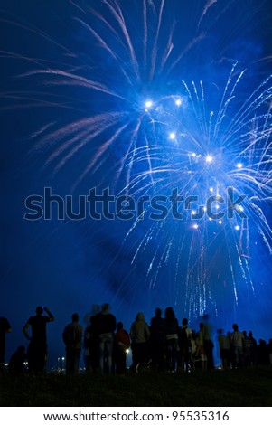 People watching beautiful blue fireworks