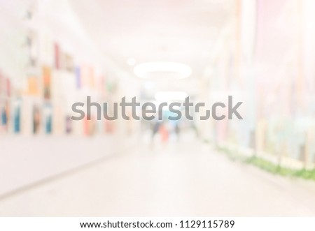 People Watching Photograph or Image in Art Gallery Museum, Abstract Blur or Defocus Background. Blur or Defocus image of the lobby of a modern art center as background with bokeh. #1129115789