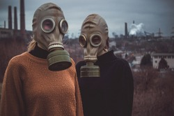 people wearing gas masks