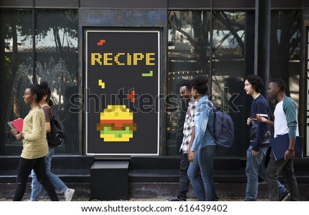 People with advertisement of 8 bit illustration of tasty burger meal #616439402