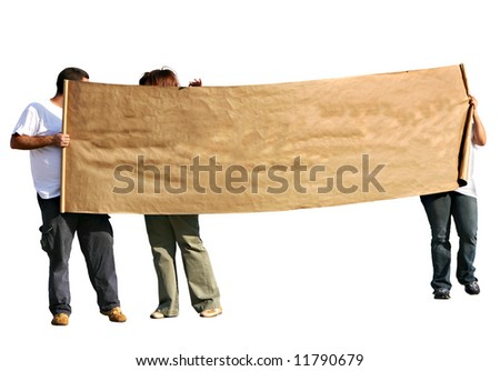 People with blank scroll sign - isolated. People with blank scroll sign - isolated.
