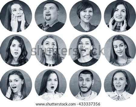 People with different facial expressions #433337356