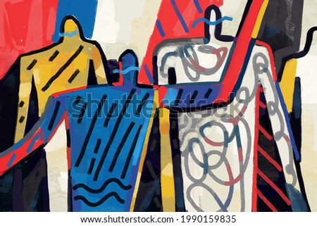 People with doodle and scribble modern expressionism art abstract shape of human. Silhouette dancing of people panting, acrylic and oil effect. Illustration for art, poster, canvas and art decoration. Photo stock ©