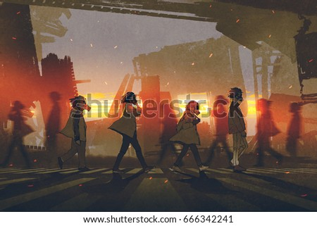 people with gas masks walking on street in futuristic city at sunset, digital art style, illustration painting - Shutterstock ID 666342241