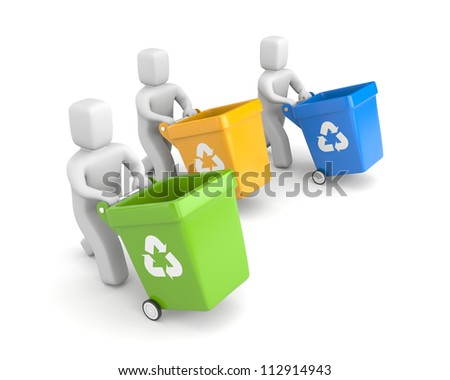 People with recycling bins