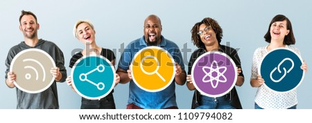 People with social media icons - Shutterstock ID 1109794082