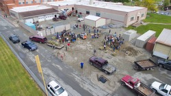 People working to save their community during the flood. Hurricane help. People coming together to help each other