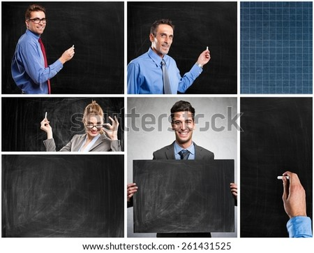 People writing on blackboards and blackboards textures